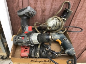 Box misc drills.  Porter cable cordless, 3 corded