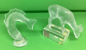 Two Lalique paperweights.  Fish, deer