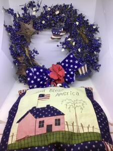 Americana wreath and pillow