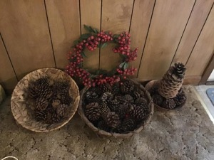 Pinecones and wreath lot