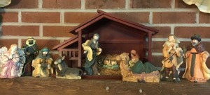 Nativity set with creche.