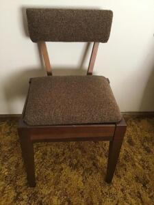 Pr Mid century style chairs with storage in seat