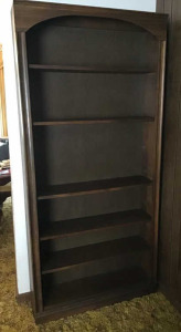 Cherry finish wood bookcase.  36 wide x 77 inches