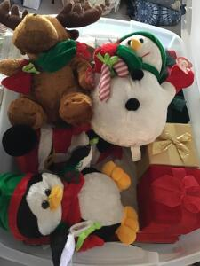 Plastic bin with lid. Five new Christmas plush