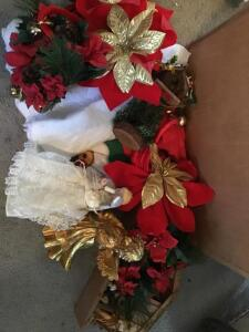 Box of miscellaneous angels, tree skirt and