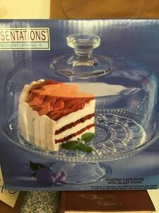 New footed cake plate with glass dome