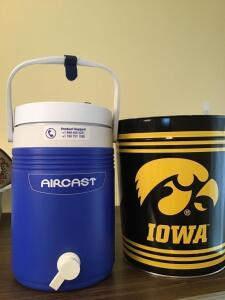 Iowa metal trash can , thermos