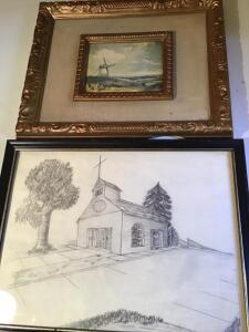 English Landscape, two pencil drawings
