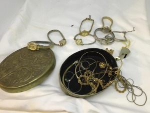 Watches, chains, etc in brass box